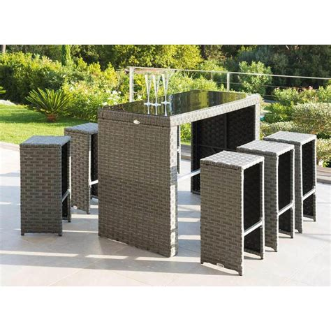 salon de jardin centrakor hesperide censemble table bar rsine tresse 6 tabourets t