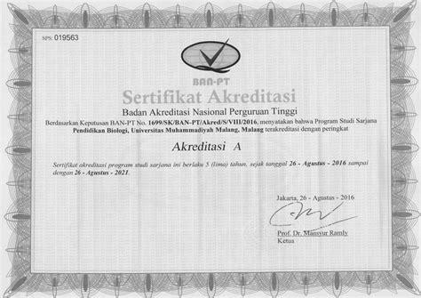 Surat Keterangan Akreditas Dari Ban Pt by Akreditasi Program Studi Biro Administrasi Akademik