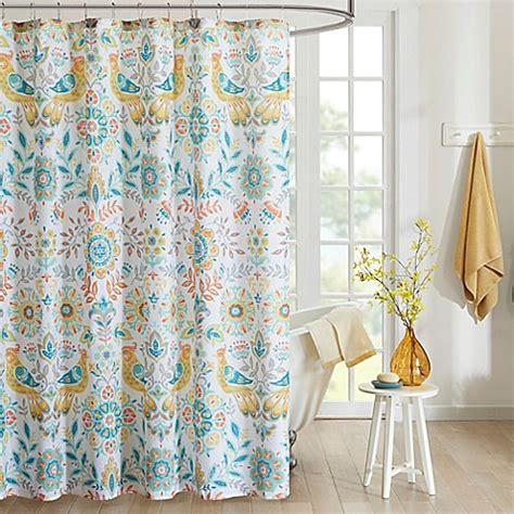 teal bathroom curtains intelligent design nina printed shower curtain in yellow