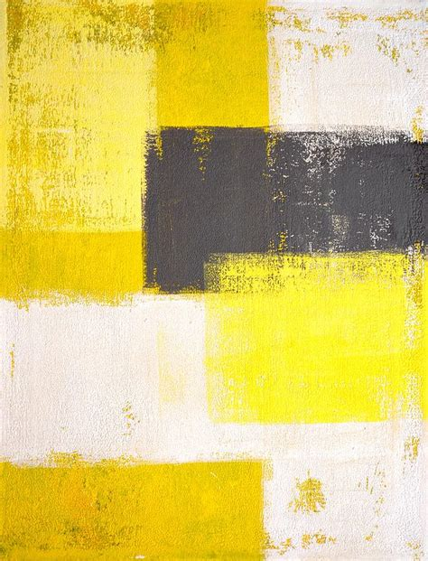 yellow grey simply modern grey and yellow abstract art painting