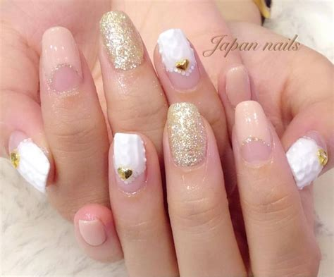 japanese nail pattern knit nails