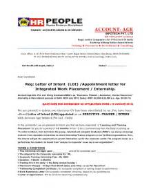 Appointment Letter Sample For Hr Executive Letter Of Intent Loi Appointment Letter