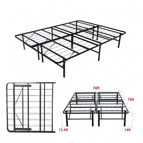 Folding Metal Bed Frame Premium Size Bi Fold Folding Platform Metal Bed Frame Mattress Foundation Ebay