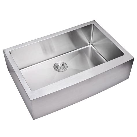 Stainless Steel Apron Front Kitchen Sink Water Creation Farmhouse Apron Front Small Radius Stainless Steel 33 In Single Basin Kitchen
