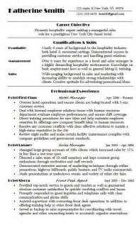 Hospitality Resume Sample   Hire Me 101