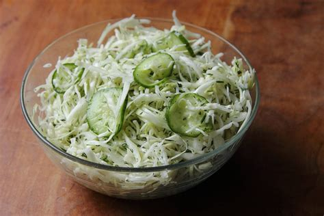 vinegar slaw with cucumber and dill grown to cook