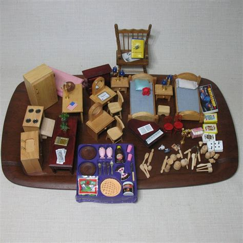 dolls house items doll house lot assorted miniature items kitchen lamps piano chairs tables ebay
