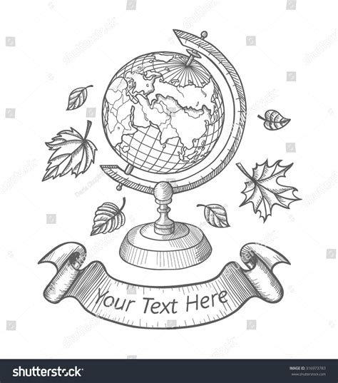 doodle world retro vector doodle world globe stand stock vector