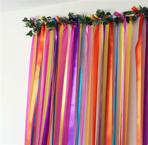 ribbon curtains rainbow bright wedding backdrop by just add a dress