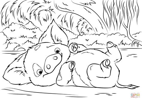 Pua Pet Pig From Moana Coloring Page Free Printable Coloring Pages Moana