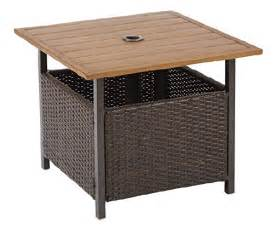 Patio Umbrella Stand Side Table Patio Umbrella Stand Wicker Steel Side Table Base Holder Yard Deck Furniture Ebay