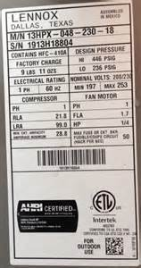 Air conditioner size outdoor unit model number tons nameplate label
