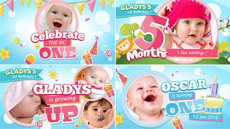 Celebrate The Big One Baby Birthday Show Kids After Effects Templates F5 Design Com Baby Photo Album After Effects Project Template Free