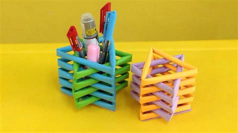How To Make Pen Stand Using Paper - how to make a paper pencil holder easy origami pen