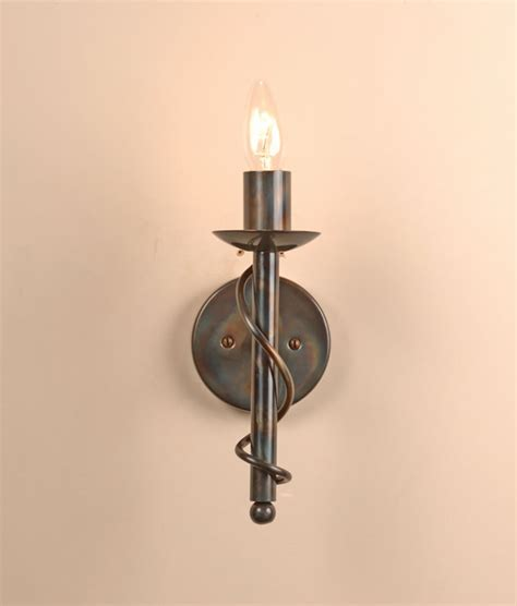 Wrought Iron Wall Lights The Wansford Single Candle Wrought Iron Wall Light