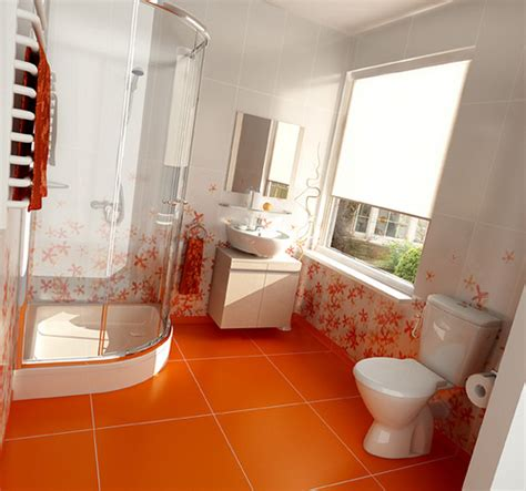 interior design orange bathroom