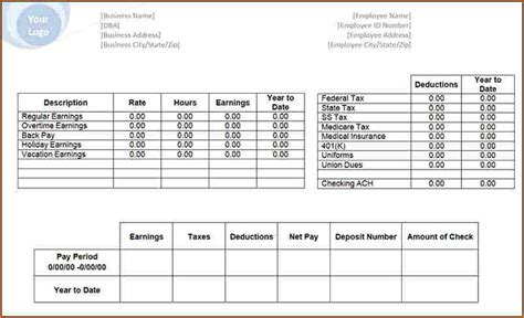 employee pay stub template 9 free pay stub template with calculator secure paystub