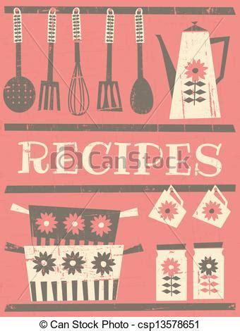 clipart vector of vintage recipe card retro style recipe