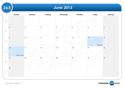 Calendar June 2013 June 2013 Calendar