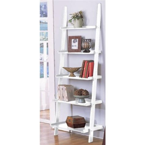 Leaning Ladder Bookcase White Decorative Bookshelves Or Bookcases