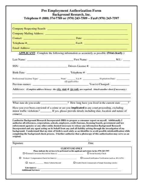 employment authorization form pre employment authorization form background checks save