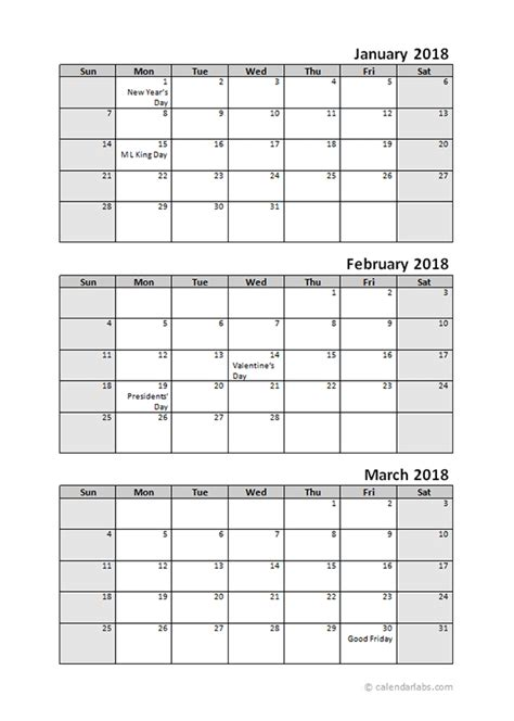 printable quarterly calendar 2018 printable 2018 quarterly calendar 3 months templates