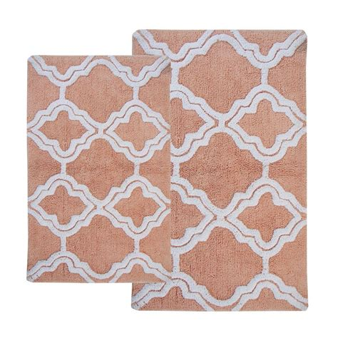 double bathroom rugs chesapeake merchandising double quatrefoil salmon ivory 2