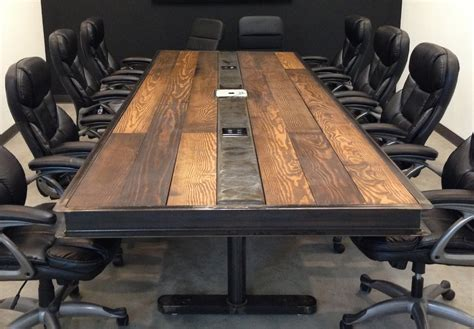 industrial vintage conference room table w steel and