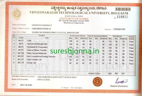 Marks Gift Card - vtu be sle marks cards from 1st 8th semester sureshjonna in