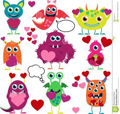 imagenes de amor niños animados sistema del vector de monstruos lindos del amor