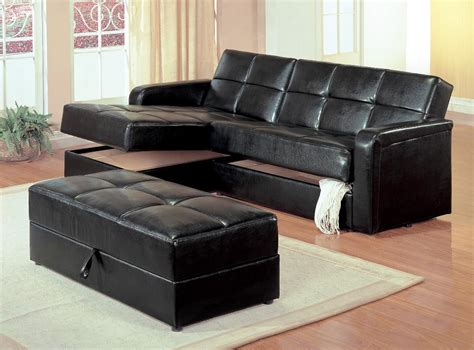 Black Leather Convertible Sofa Black Or Ivory Bonded Sleeper Sofa Black