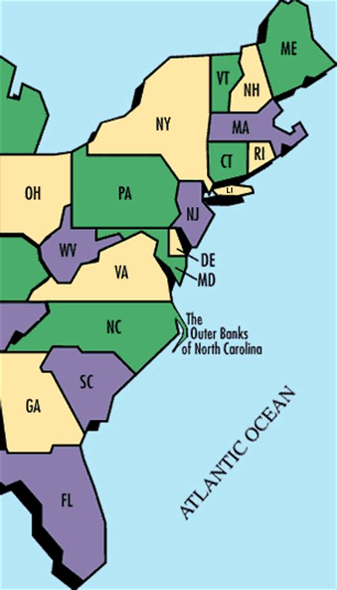 east coast states in us map maps map east coast