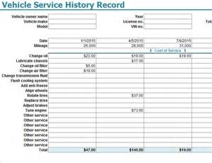 Vehicle Service Sheet Template vehicle service history record template my excel templates
