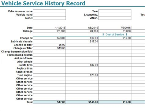 Service Sheet Template by Vehicle Service History Record Template My Excel Templates