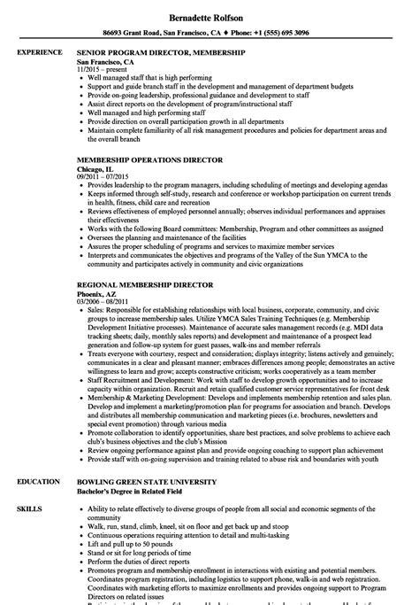 membership director resume sles velvet