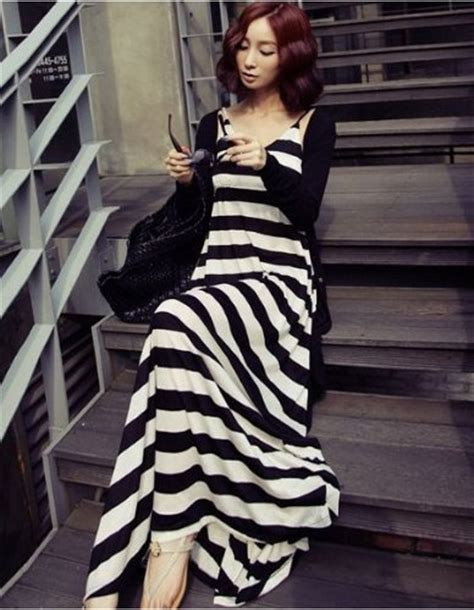 Two Pieces Design Stripe Style Dress Black summer striped maxi dress cotton 187 everything stripes