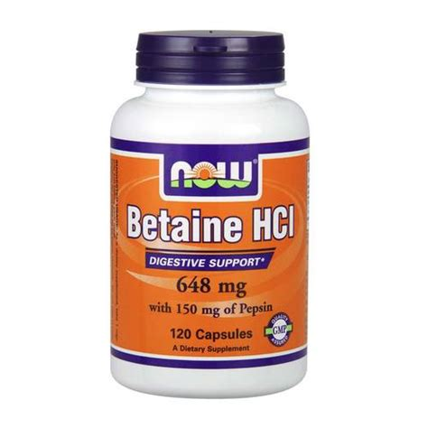 Betaine Hcl Detox Symptoms by Now Foods Betaine Hcl 648 Mg 120 Capsules Evitamins