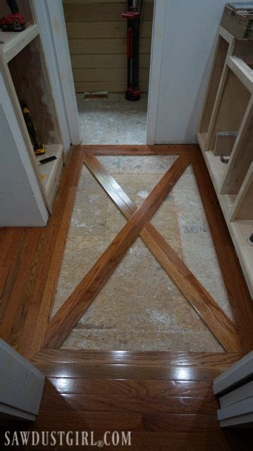 How to Install a Wood Floor with Tile Inlay   Sawdust Girl®