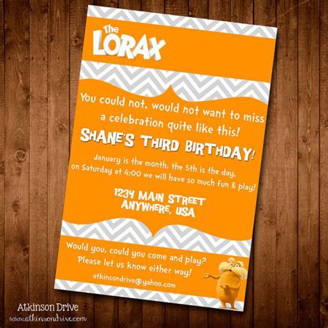 printable lorax invitations 28 best images about kenady s 2nd birthday the lorax on