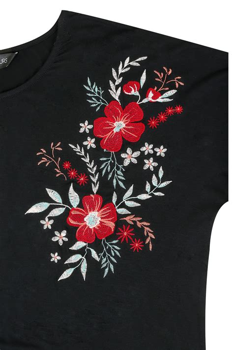 Black Flower Embroidery Depw030 black t shirt with floral embroidered shoulders plus size 16 to 36