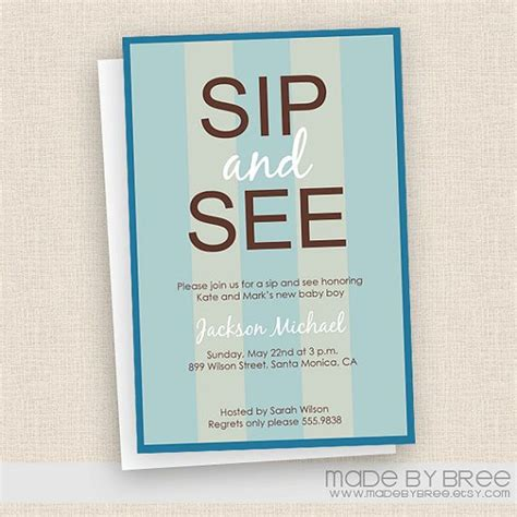 Sip And See Baby Shower by Striped Patten Sip And See Blue Baby Shower Invitation
