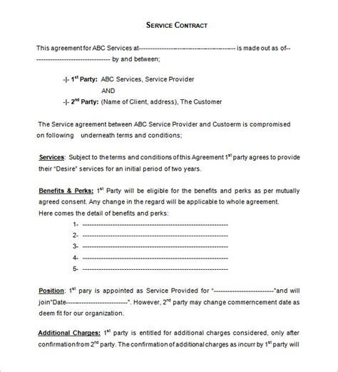 terms of service agreement template free service contract templates 14 free word pdf documents