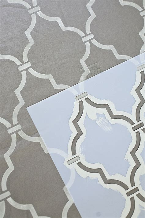 day to day wonderments gray morroccan tile stenciled fabric