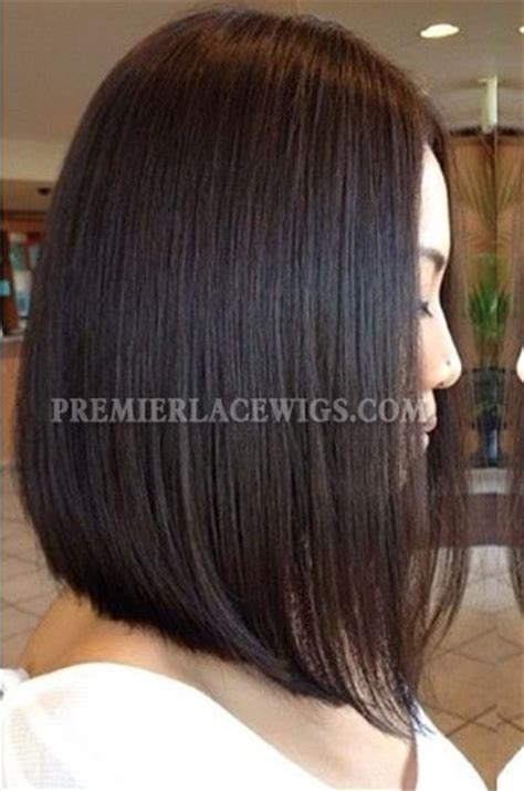 stacked bob haircut long points in front trendy long bob hairstyle black color human hair lace wigs