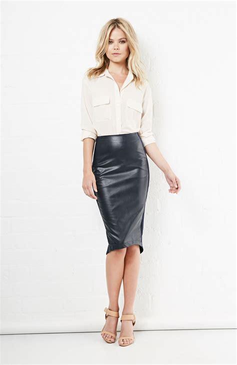 basquiat vegan leather pencil skirt in navy s dailylook