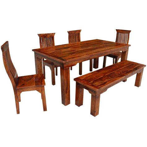 rustic table and bench set rustic solid wood casual dining table chair set w bench