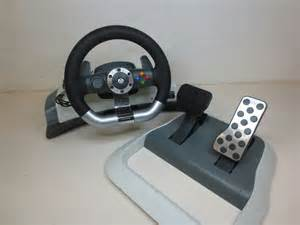 Xbox Steering Wheel And Pedals Ebay Microsoft Xbox 360 Wireless Racing Steering Wheel Pedals W