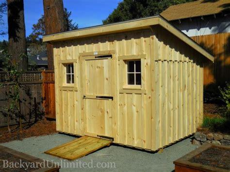 lean  garden shed  unstained board  batten