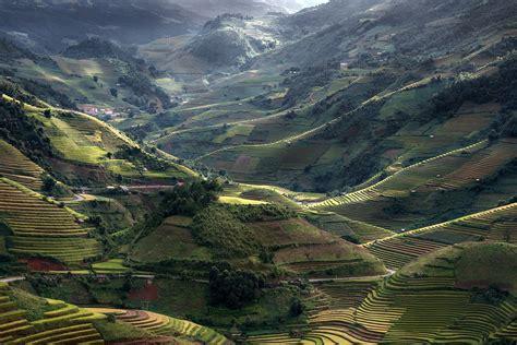 nature landscape mountain field terraces sunlight