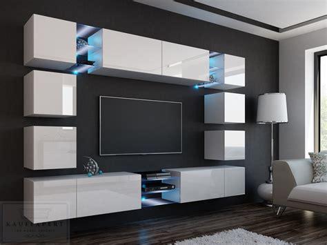 moderner wohnzimmerschrank mit glastüren und led beleuchtung kaufexpert wohnwand edge wei 223 hochglanz mediawand